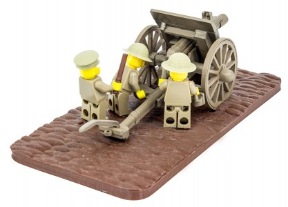 British minifig soldiers loading the 18 Pounder