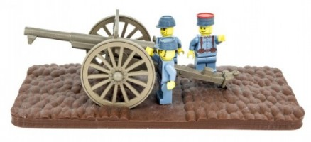 French minifig soldiers firing 75mm field artillery gun