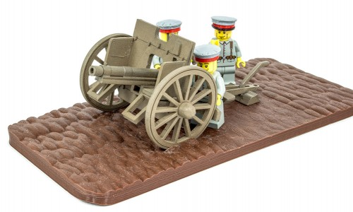 German minifig soldiers firing the 77mm field artillery gun